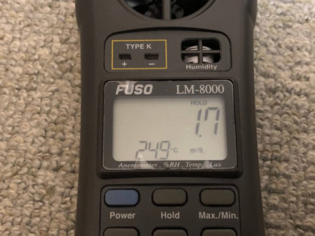 アイリスオーヤマのサーキュレーター8畳用と14畳用の風速比較写真2