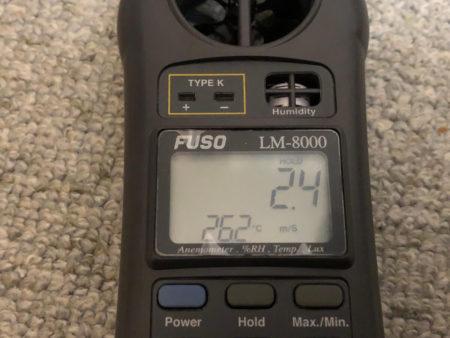 アイリスオーヤマのサーキュレーター8畳用と14畳用の風速比較写真
